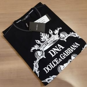 DOLCE&GABBANA DNA MENS BLACK COTTON PRINTED TEE